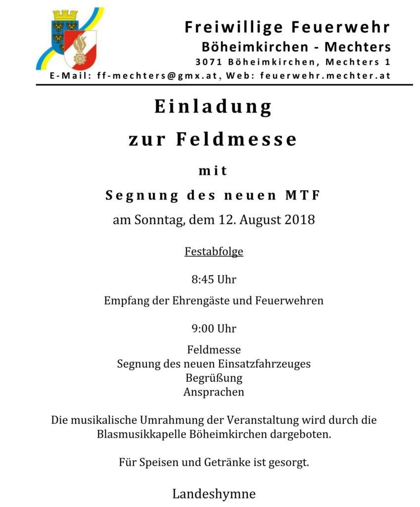 Einladung zur Segnung des neuen MTF - Bild 1